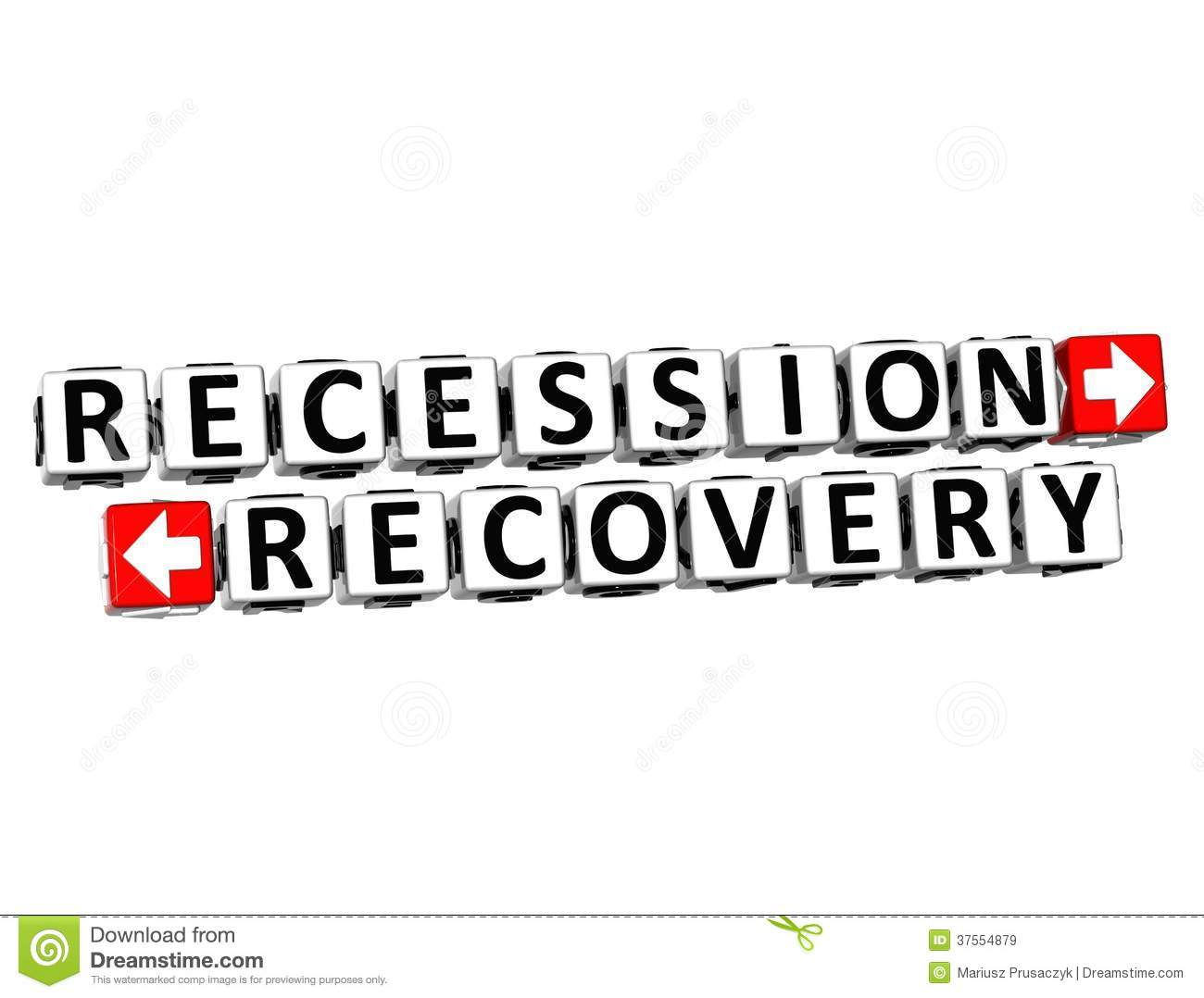 3d Recession Recovery Button Click Here Block Text Stock