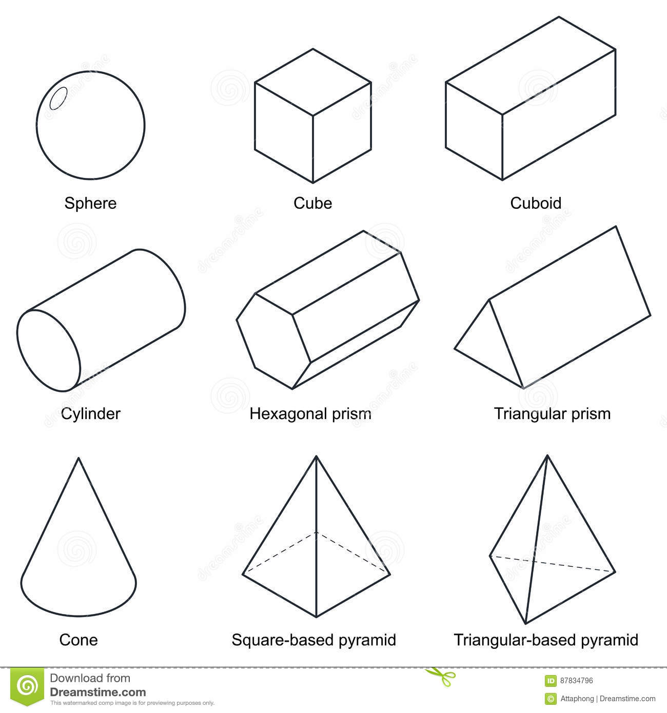 3d Shape Set Isolated On White Background Vector