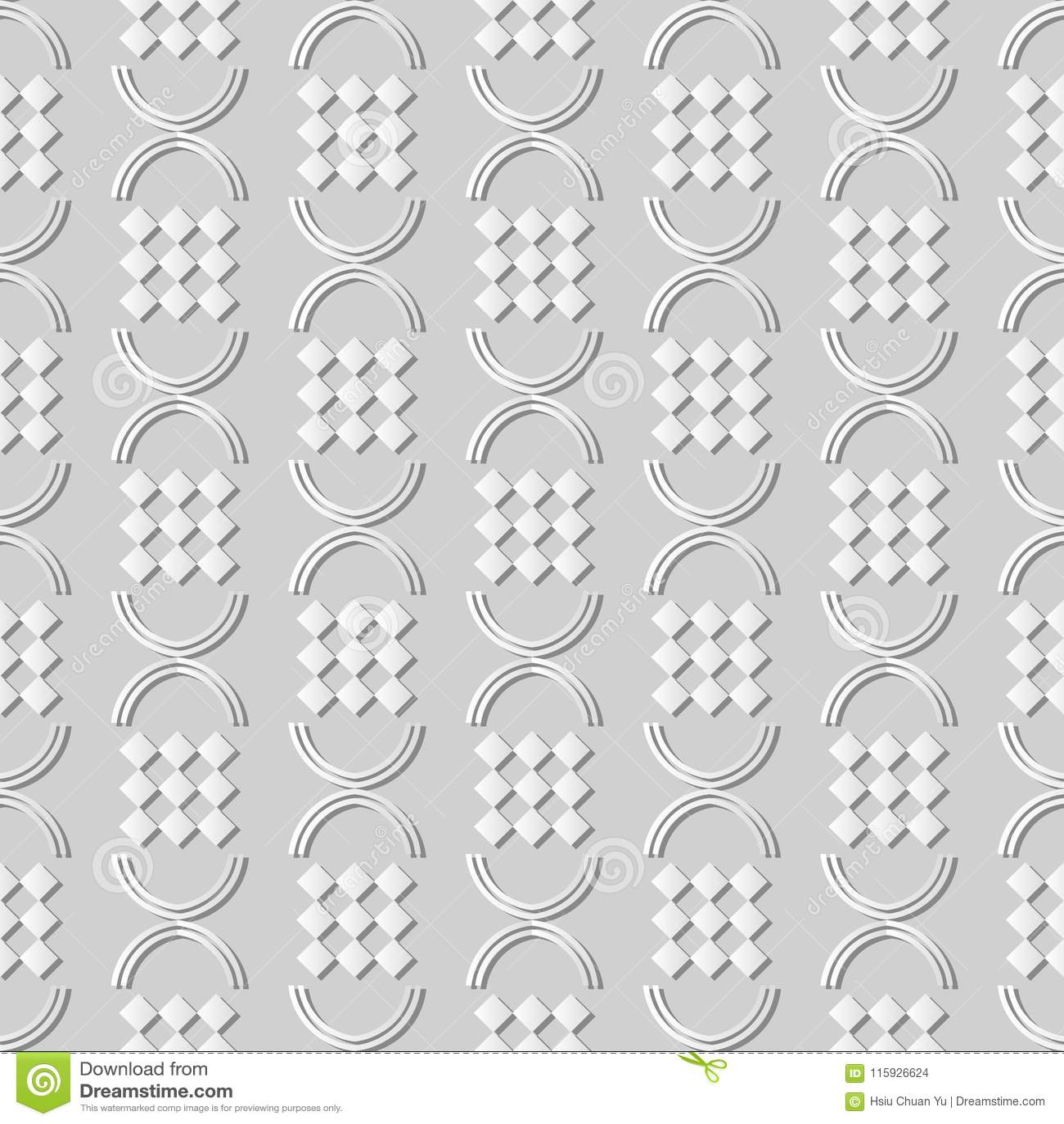 3d White Paper Art Curve Semi Circle Round Check Geometry