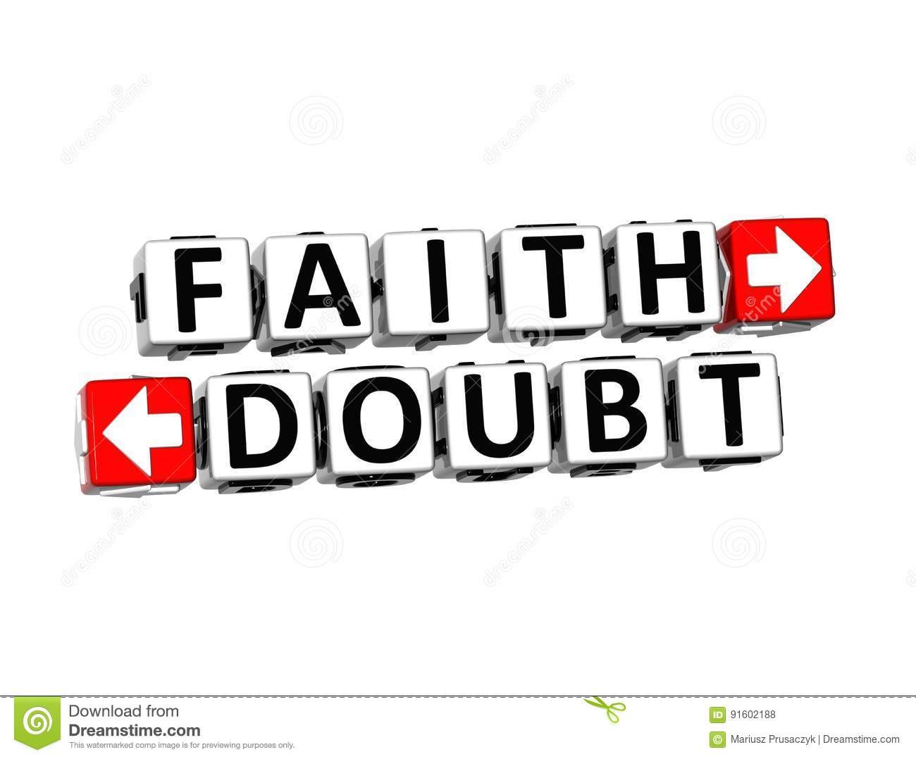 Faith Versus Doubt Religion Or Confidence Concept Stock