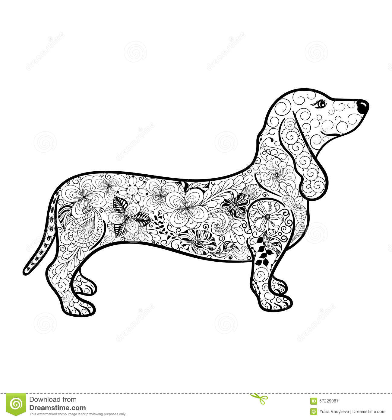 Dachshund Doodle Stock Vector Illustration Of Animal