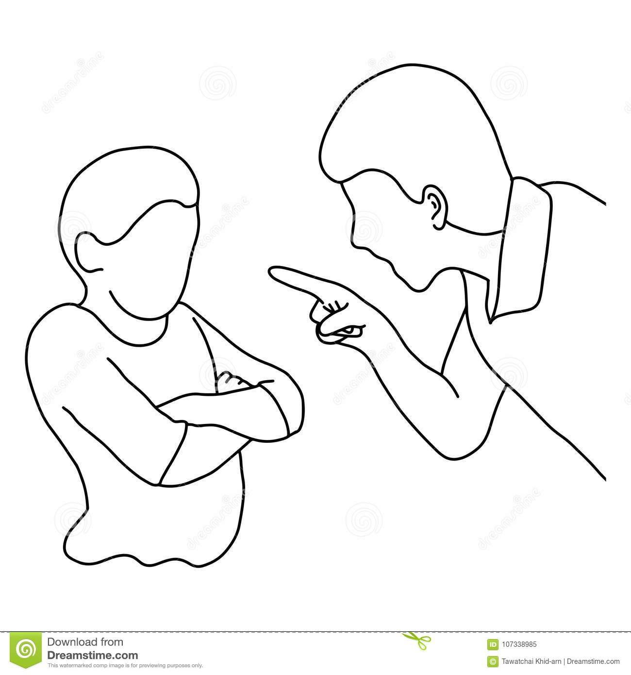 Dad Scolding His Son Vector Illustration Outline Sketch