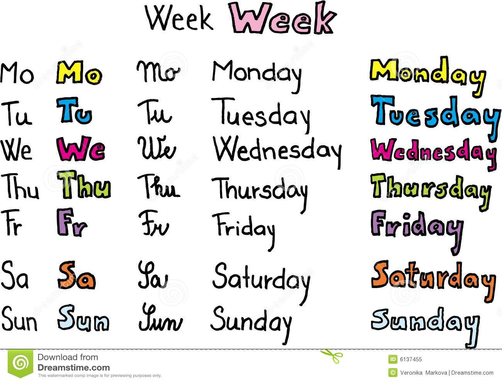 Dagen Van De Week Vector Illustratie Illustratie