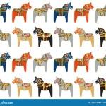 Dala Horse Swedish Folk Art Pattern Stock Vector Illustration Of Wooden Wood 199012288
