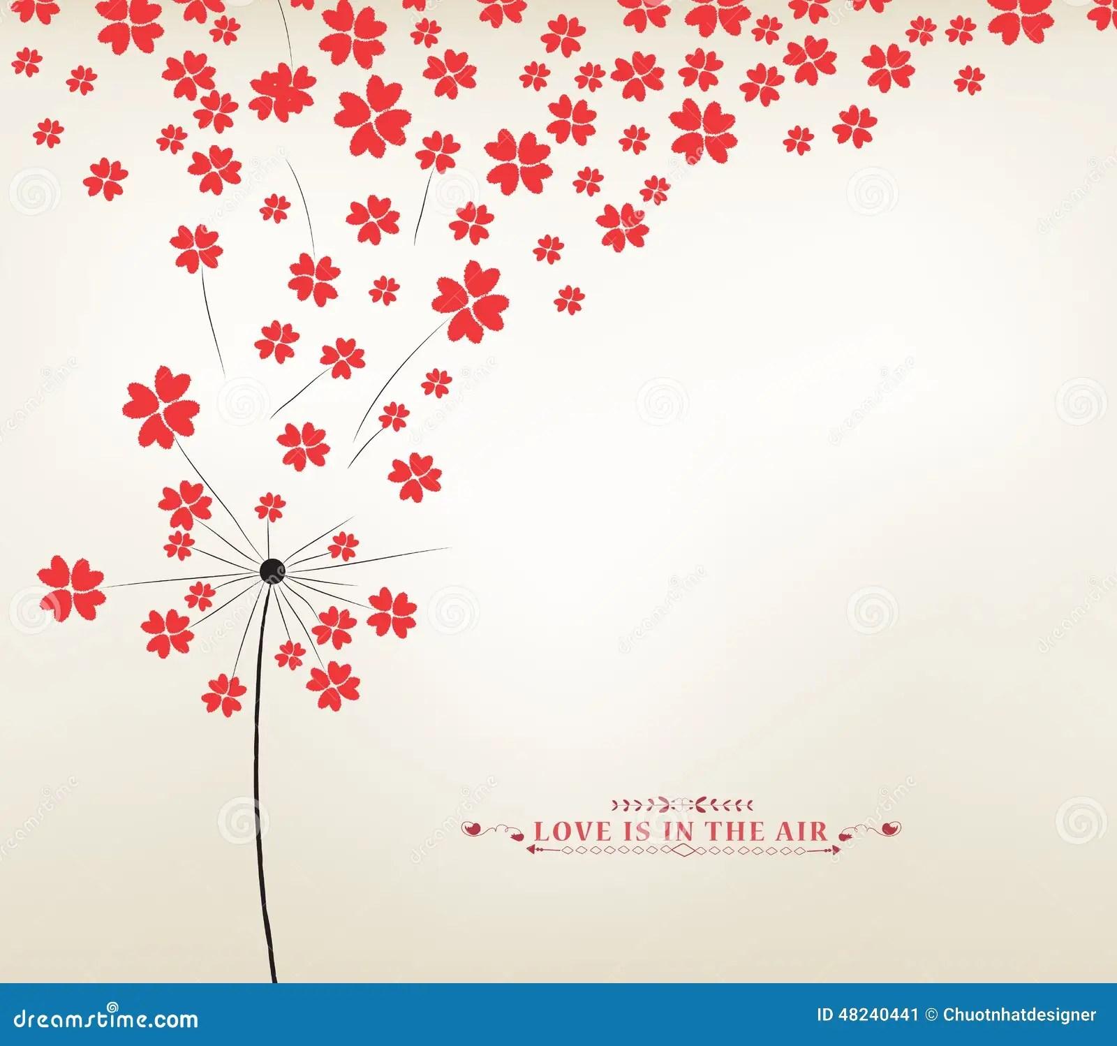Dandelion Hearts Greeting Card Stock Vector Image 48240441
