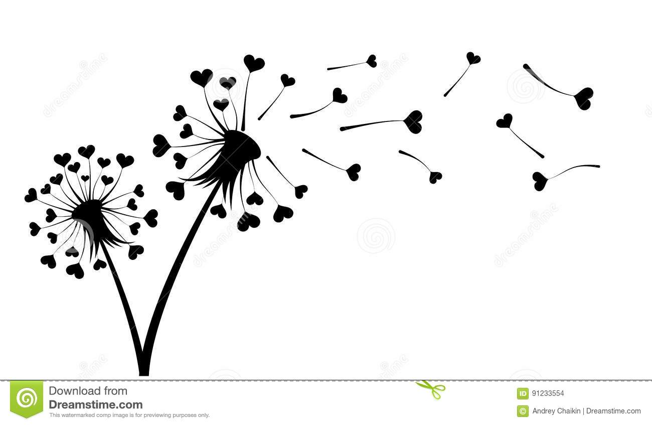 Dandelion With Hearts Stock Vector Illustration Of
