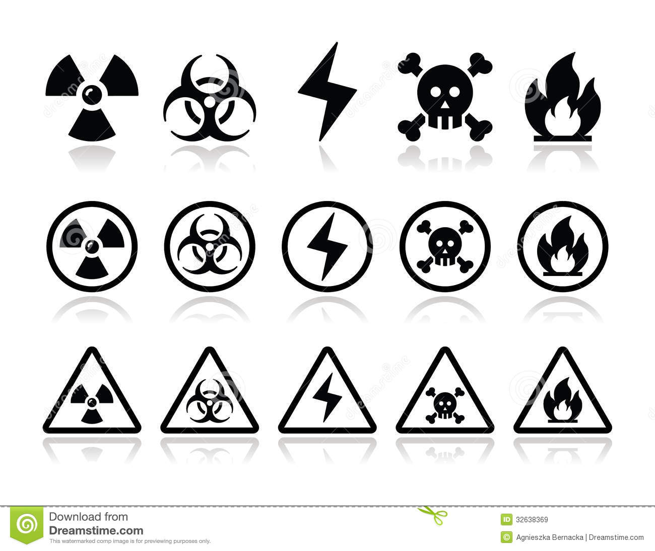 Danger Attention Icons Set Royalty Free Stock Images