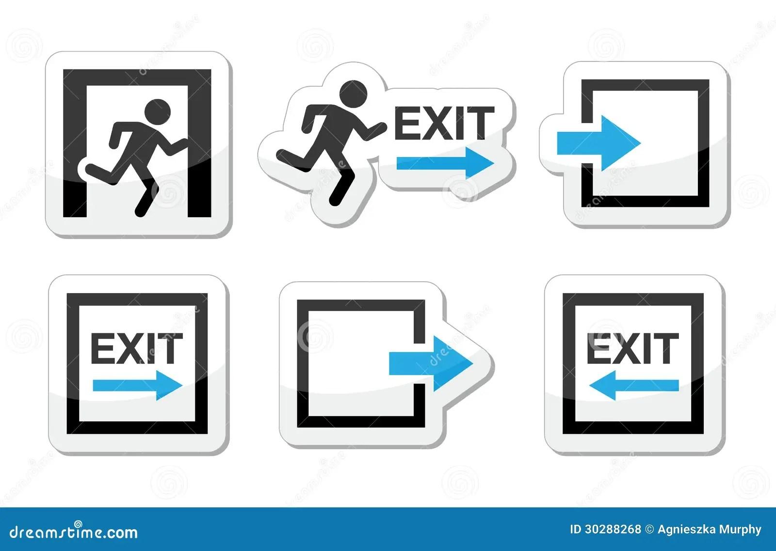Emergency Exit Icons Set Stock Illustration Image Of