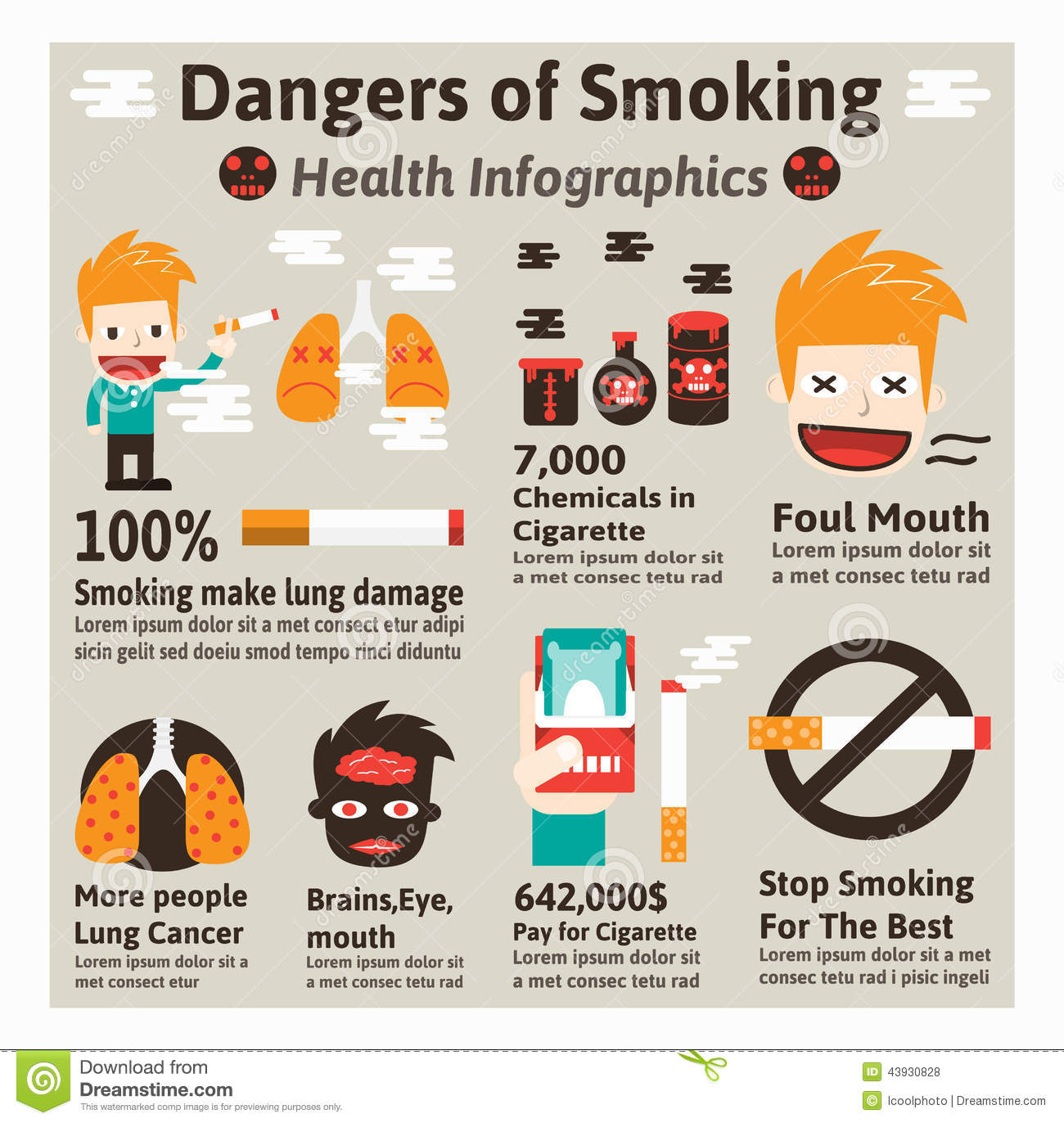 Dangers Of Smoking Stock Vector