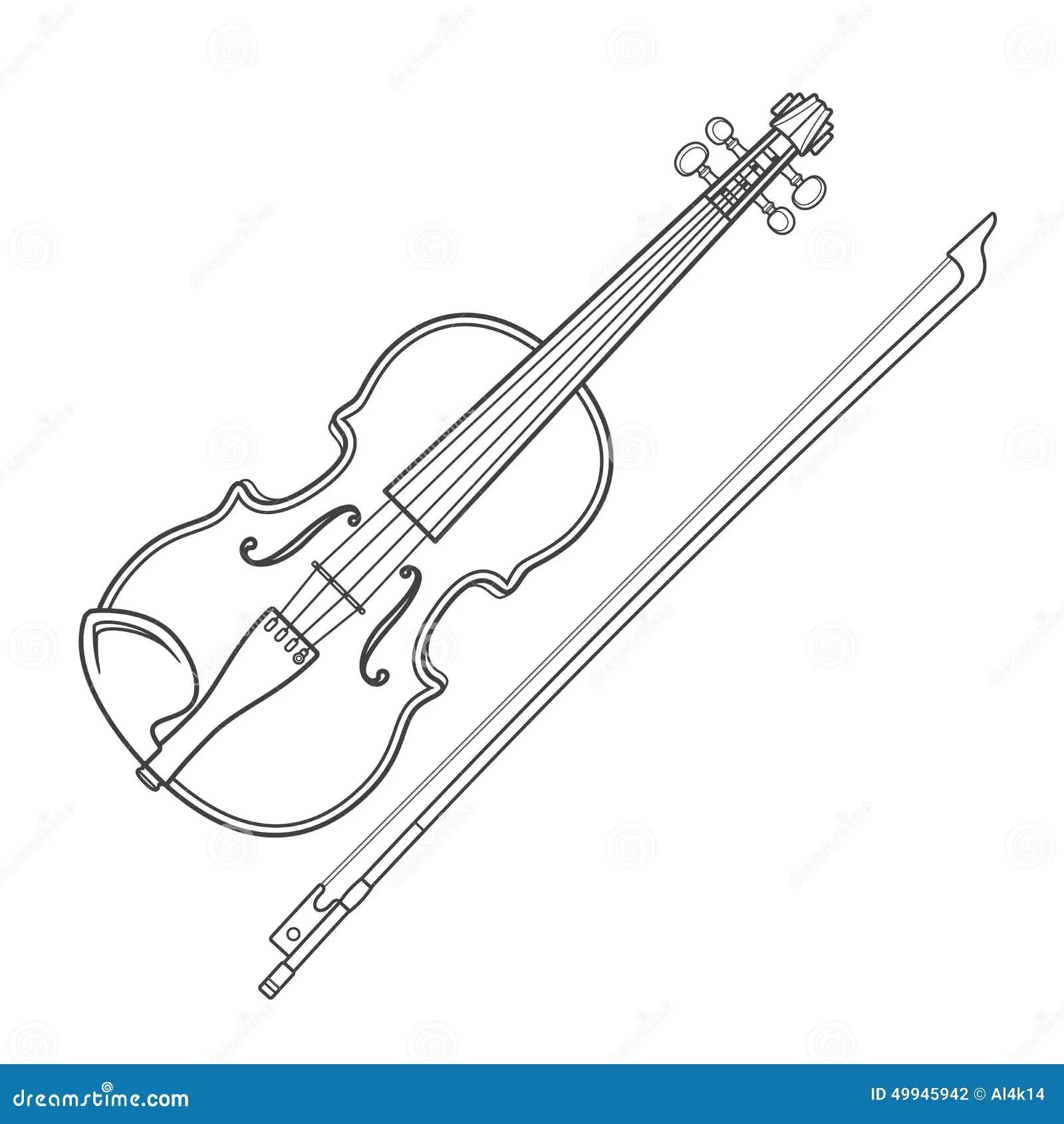 Dark Contour Vector Fiddle Violin Stock Vector