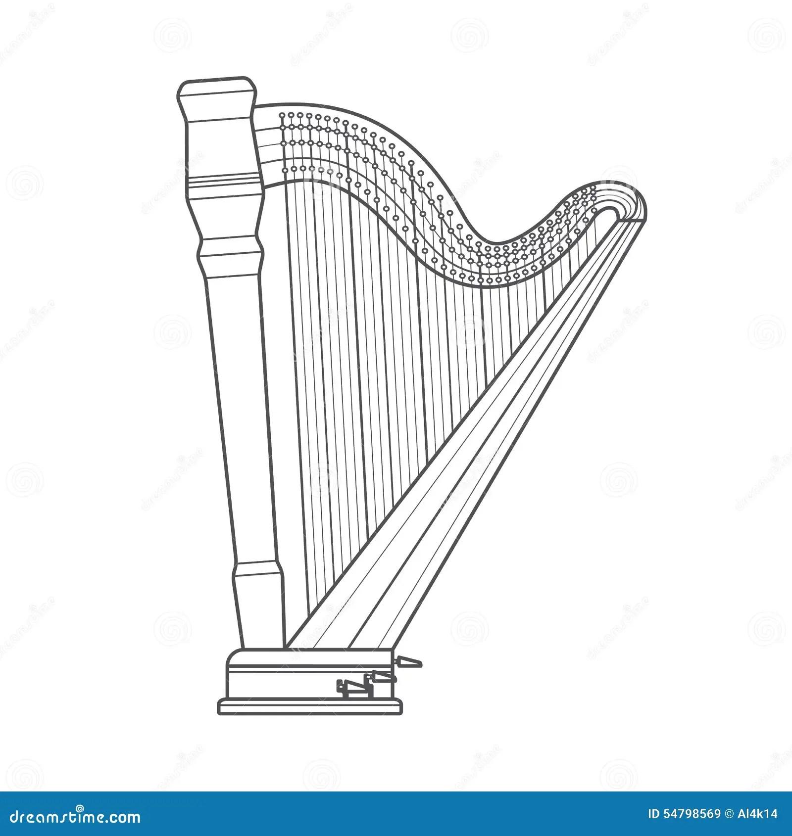 Dark Outline Pedal Harp Technical Illustration Stock