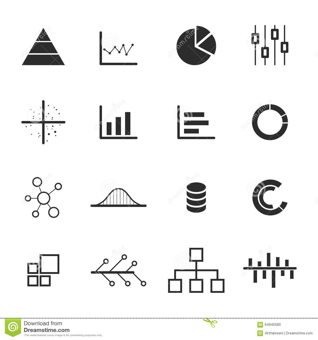 Data Chart Diagram Icon Set Stock Vector