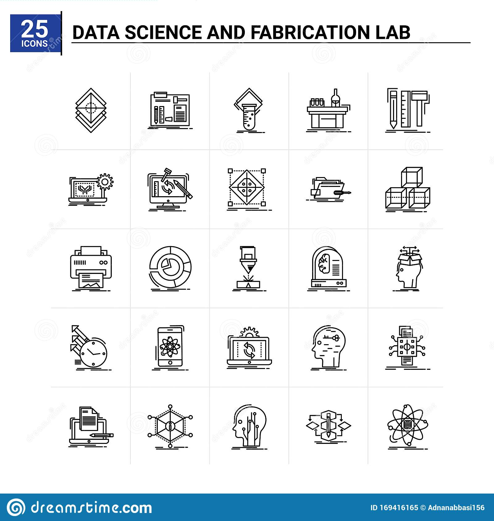 25 Data Science And Fabrication Lab Icon Set Vector