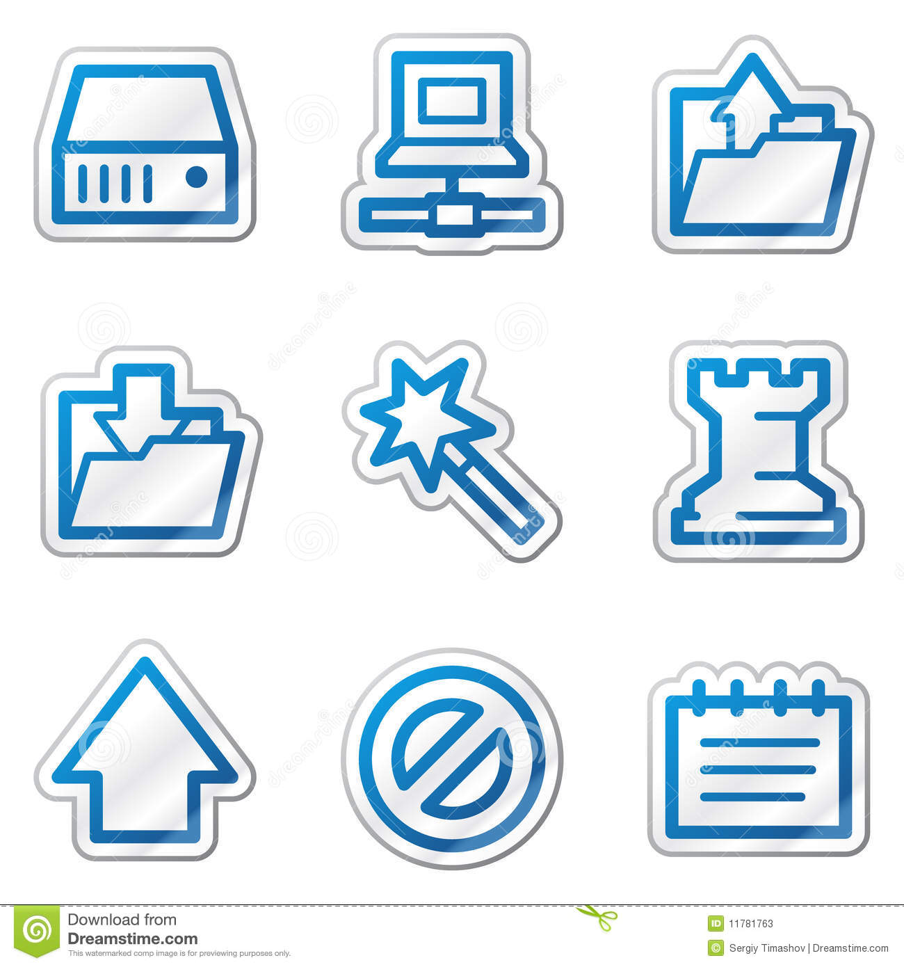 Data Web Icons Blue Contour Sticker Series Stock Photos