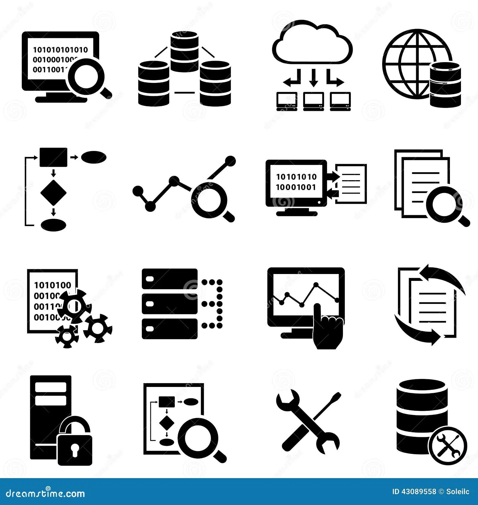 Datos Computacion De La Nube E Iconos Grandes De La Tecnologia Ilustracion Del Vector