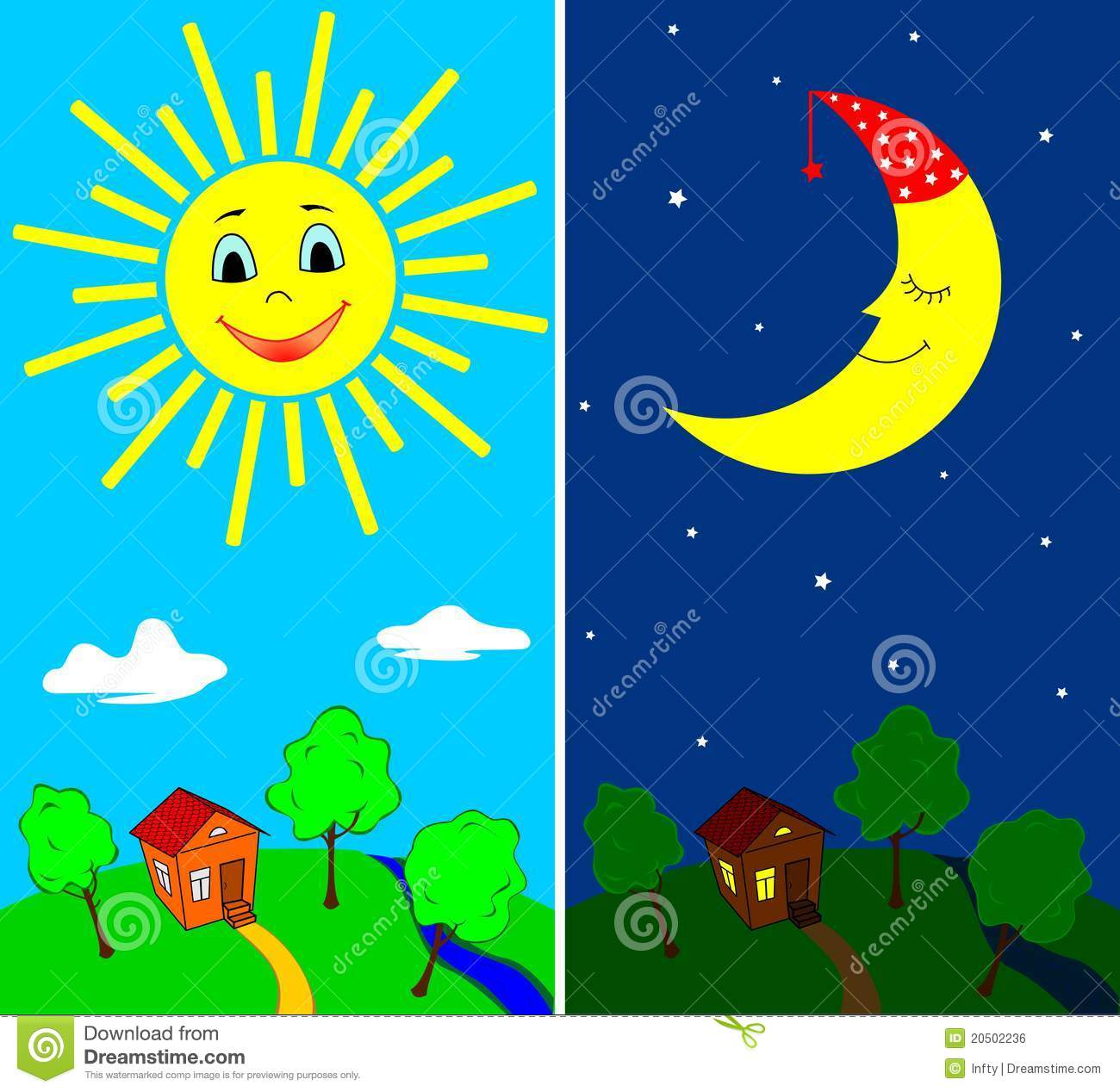 Day And Night Stock Vector Image Of Bright Moon