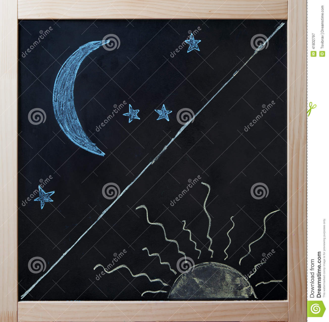 Day And Night Opposites Concept On Blackboard