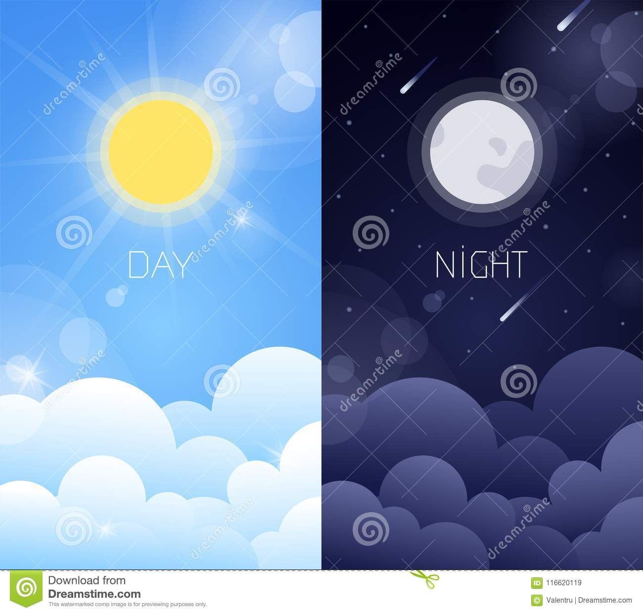 Day And Night Sky Illustration Stock Vector