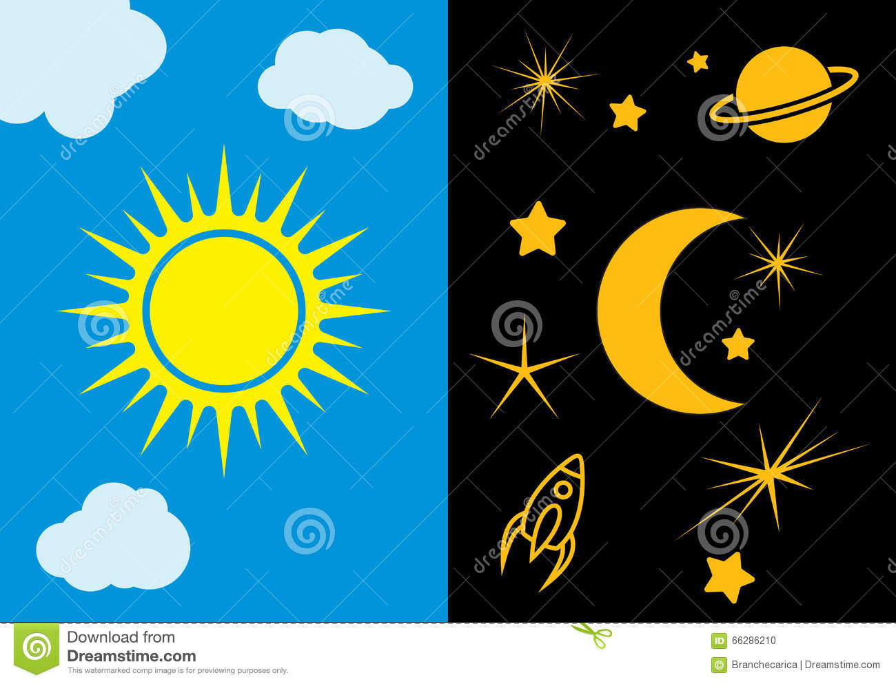 Day And Night Sun And Moon Vector Illustration Stock Vector