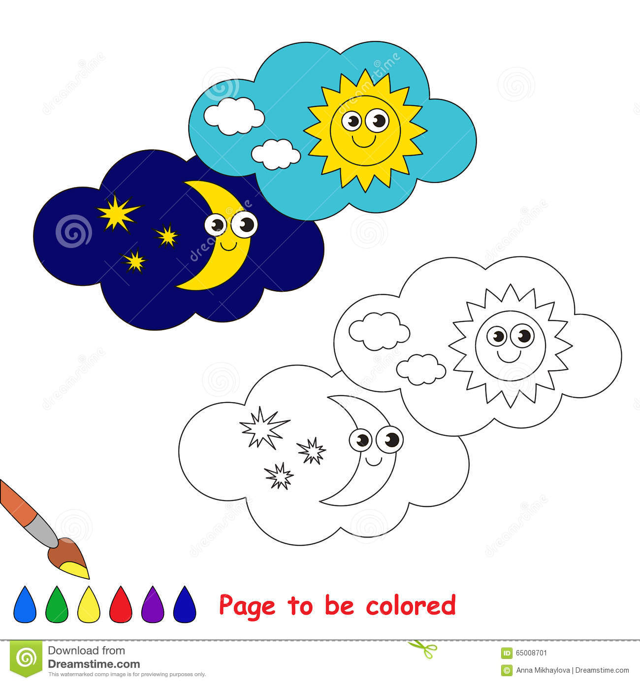 Day And Night In Vector Cartoon To Be Colored Stock