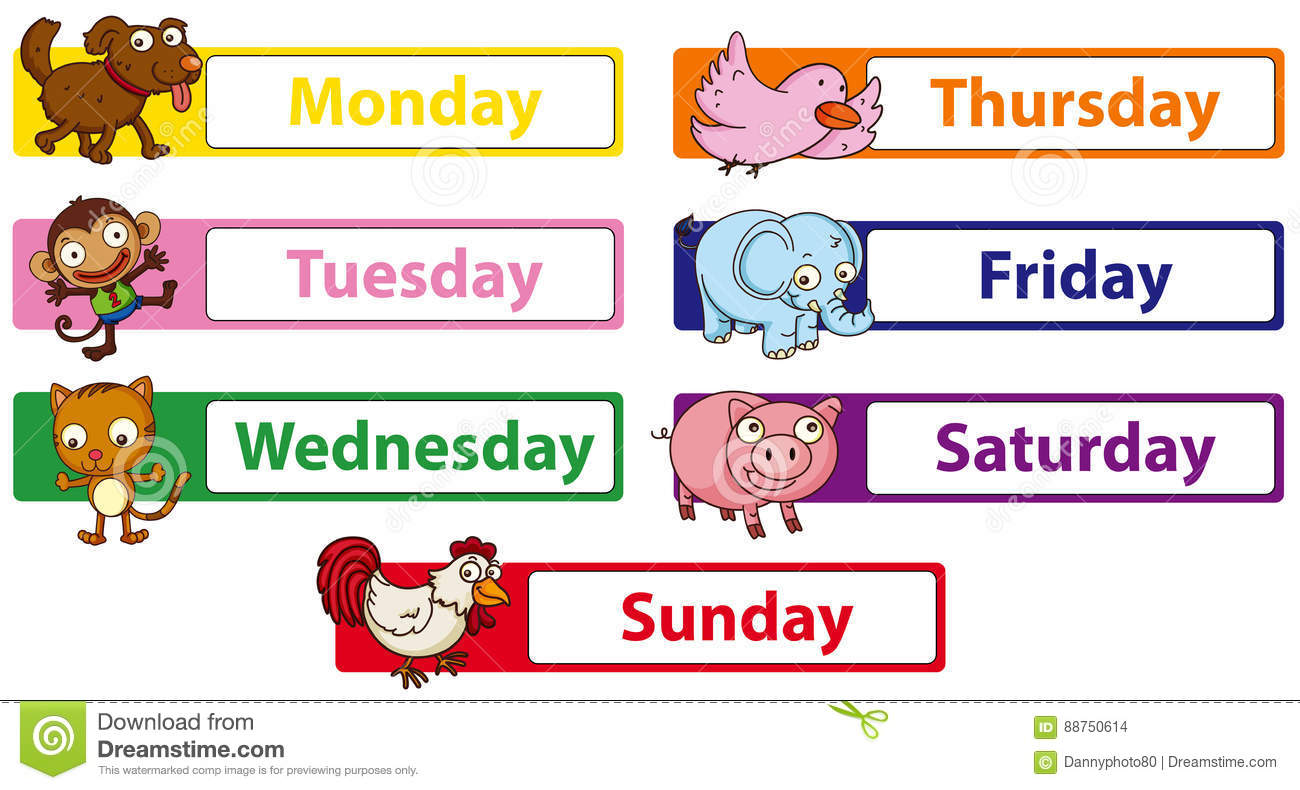 Days Of The Week With Animals On The Signs Stock Vector