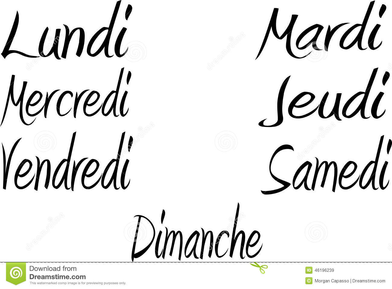 Days Of The Week In French Stock Vector