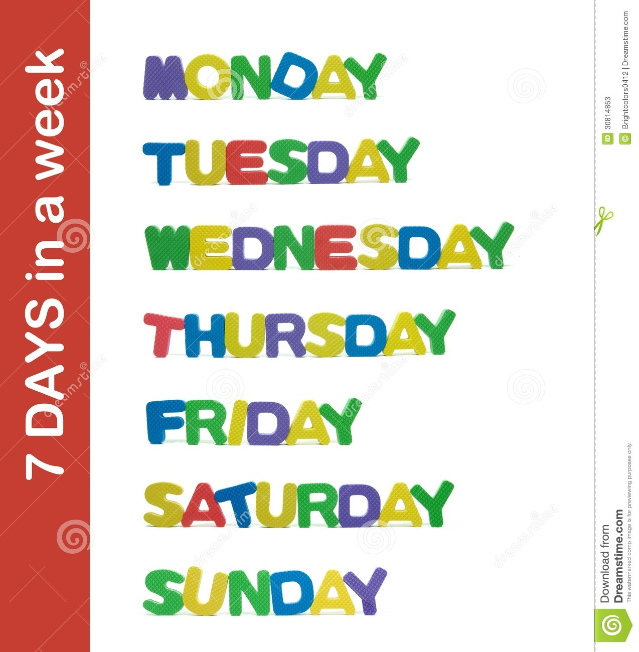 7 Days In A Week Letter Stock Image Image Of Week