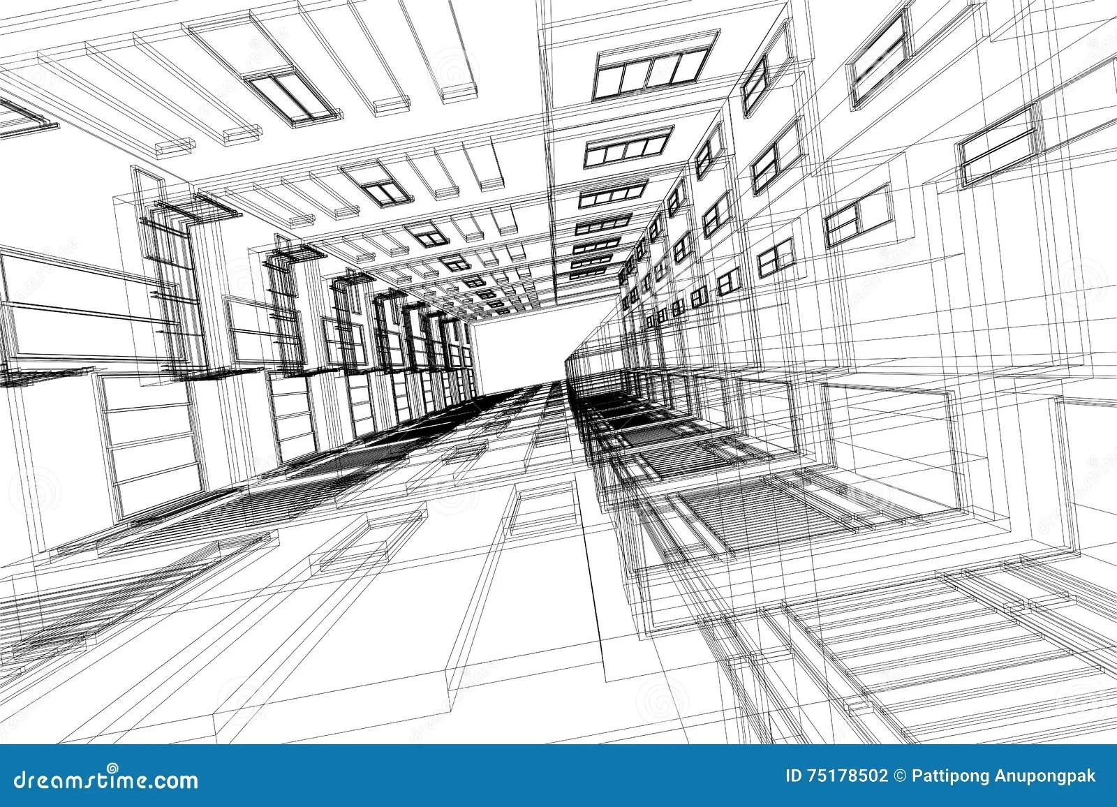 De Hoge De Bouw Abstracte 3d Illustratie Van De