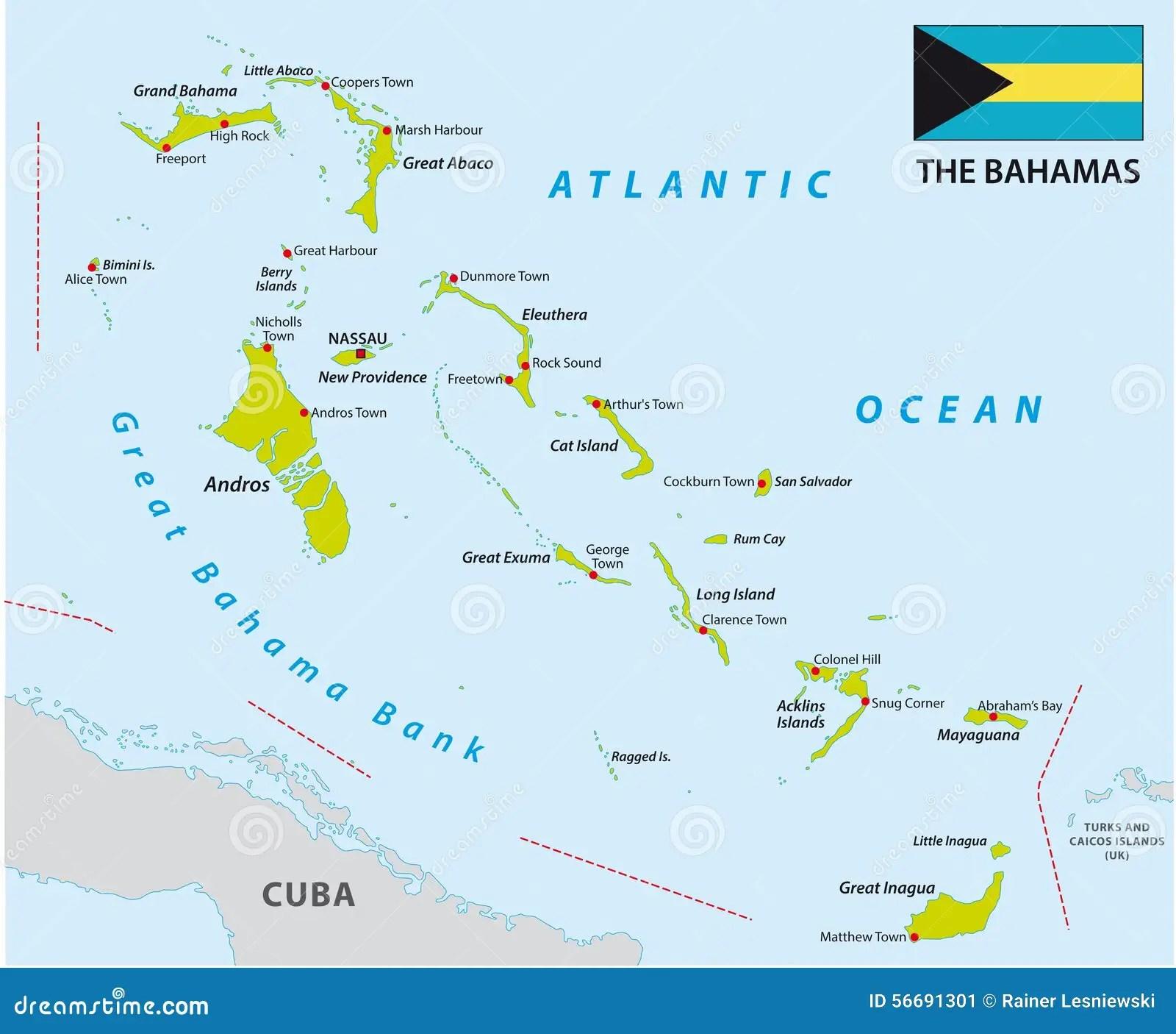 De Kaart Van De Bahamas Met Vlag Stock Illustratie