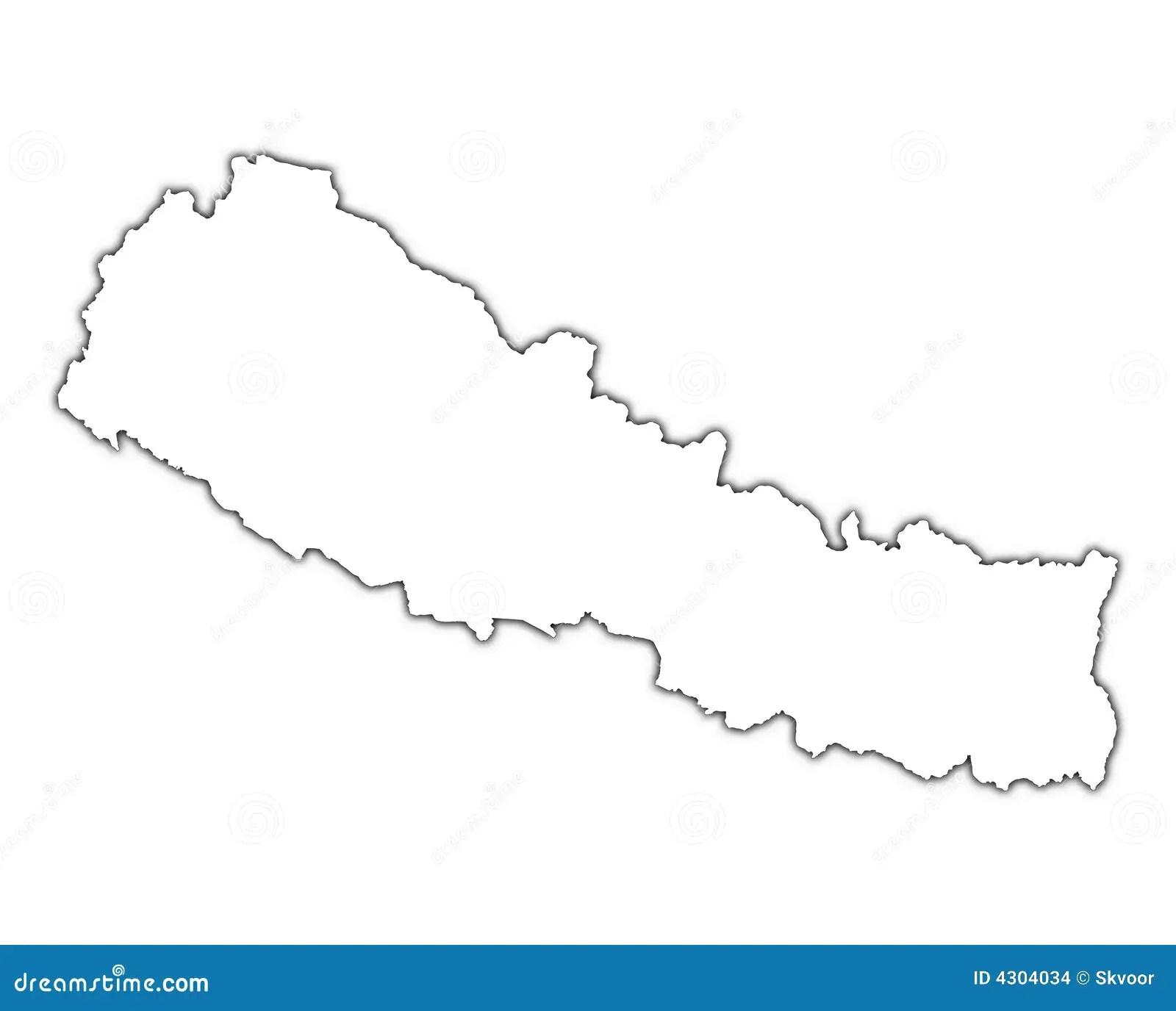 De Kaart Van Nepal Met Schaduw Stock Illustratie