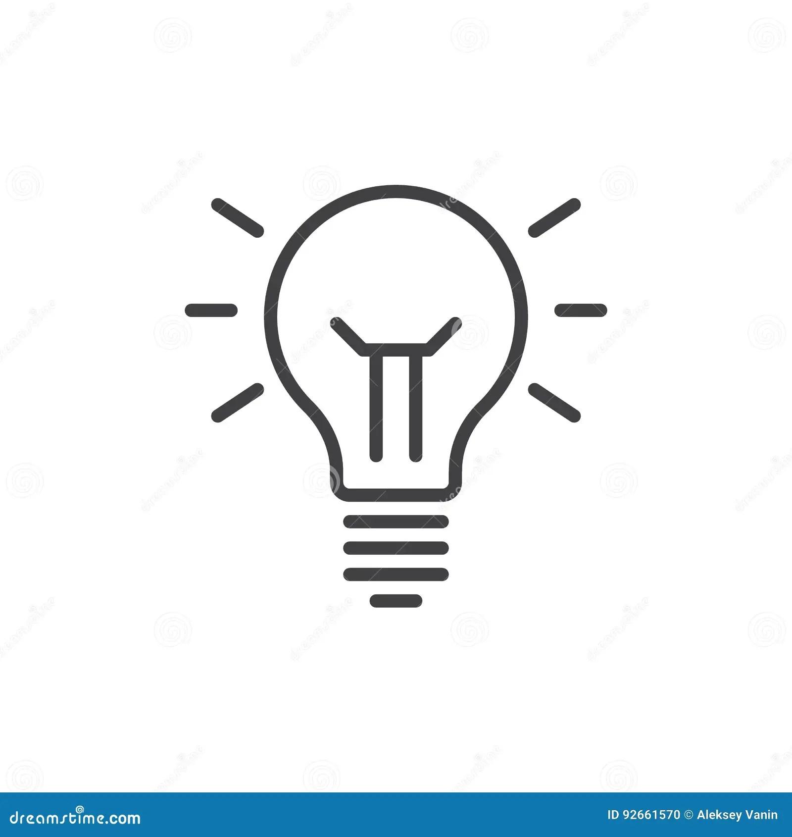 De Lijnpictogram Van De Ideelamp Overzichts Vectorteken