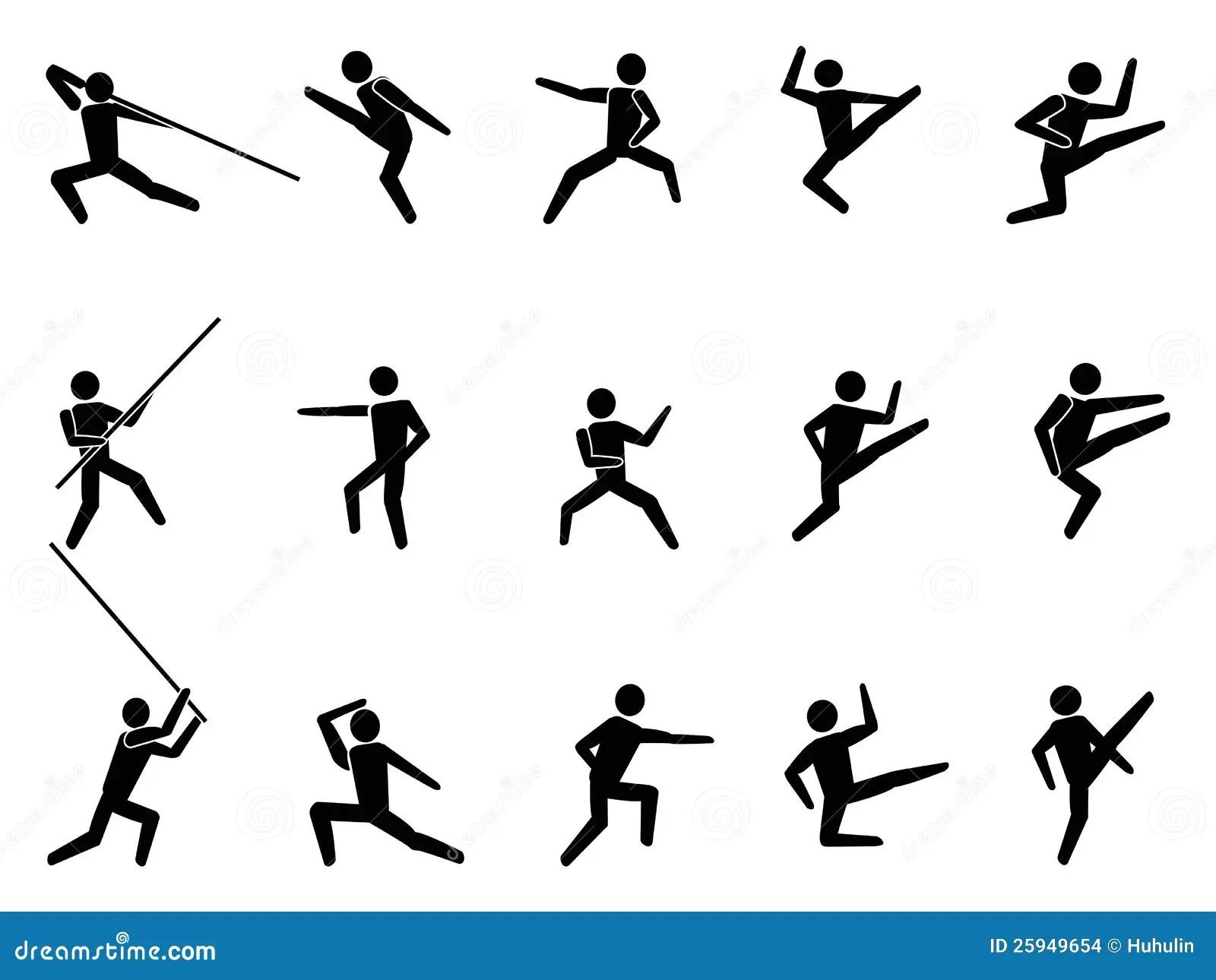 De Pictogrammen Van Het Symboolmensen Van Vechtsporten