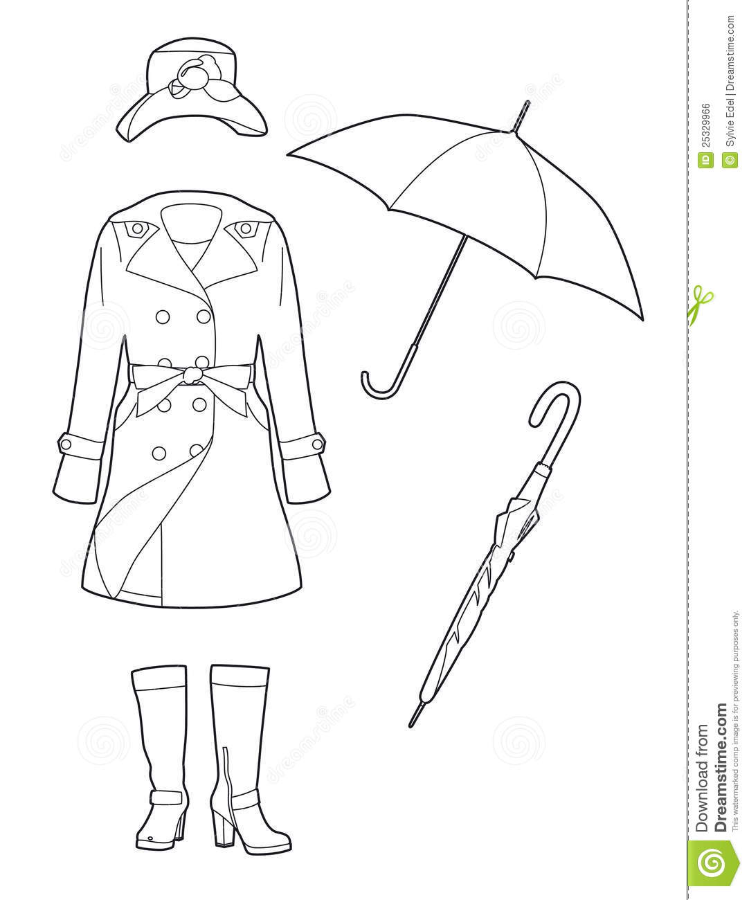 Rain Boots Drawing Sketch Coloring Page