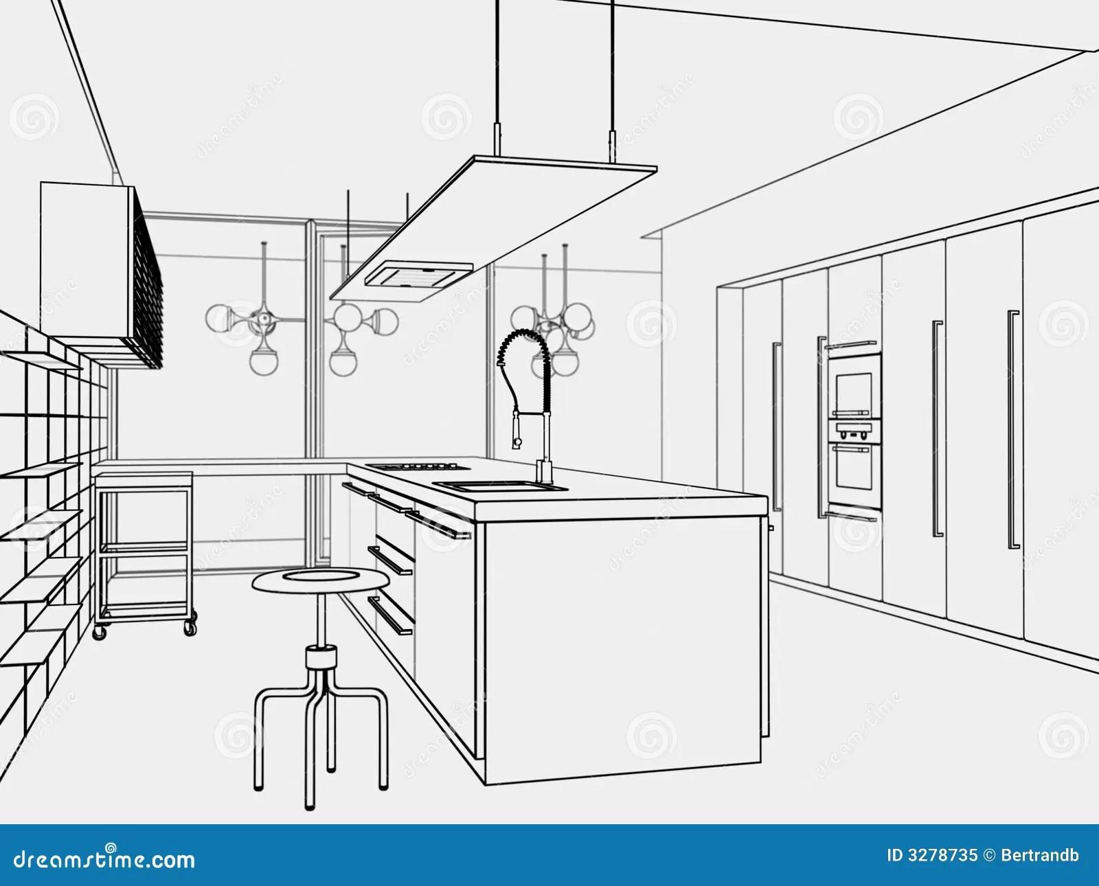 De Toon Stijl Van De Keuken Stock Illustratie