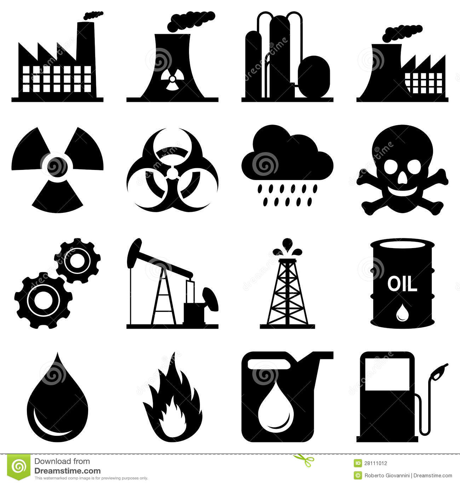 De Zwart Witte Pictogrammen Van De Industrie Stock