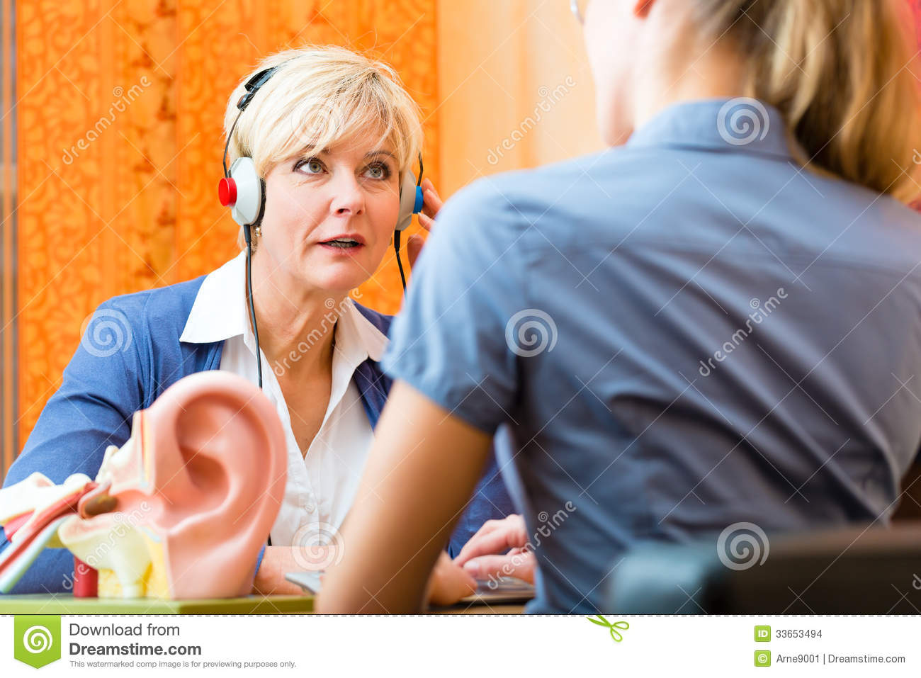 Deaf Woman Takes A Hearing Test Stock Images