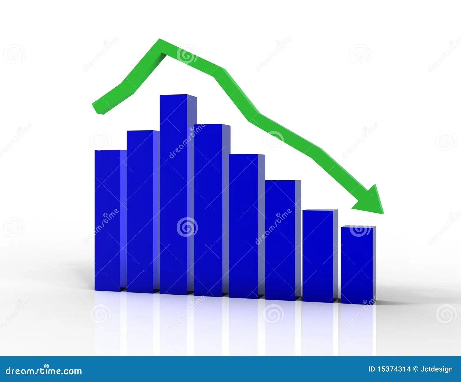 Declining Bar Graph With Arrow Stock Illustration