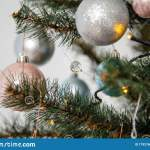 Decorated Fir Tree With Pink Blue White And Silver Bulbs Merry Christmas Happy New Year And Winter Holidays Stock Image Image Of Decorated Branch 179216077