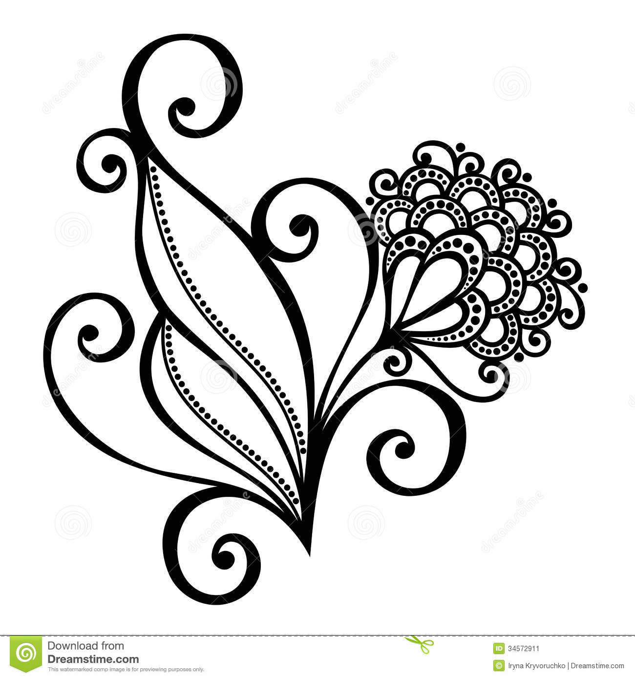 Decorative Flower With Leaves Stock Vector Image 34572911