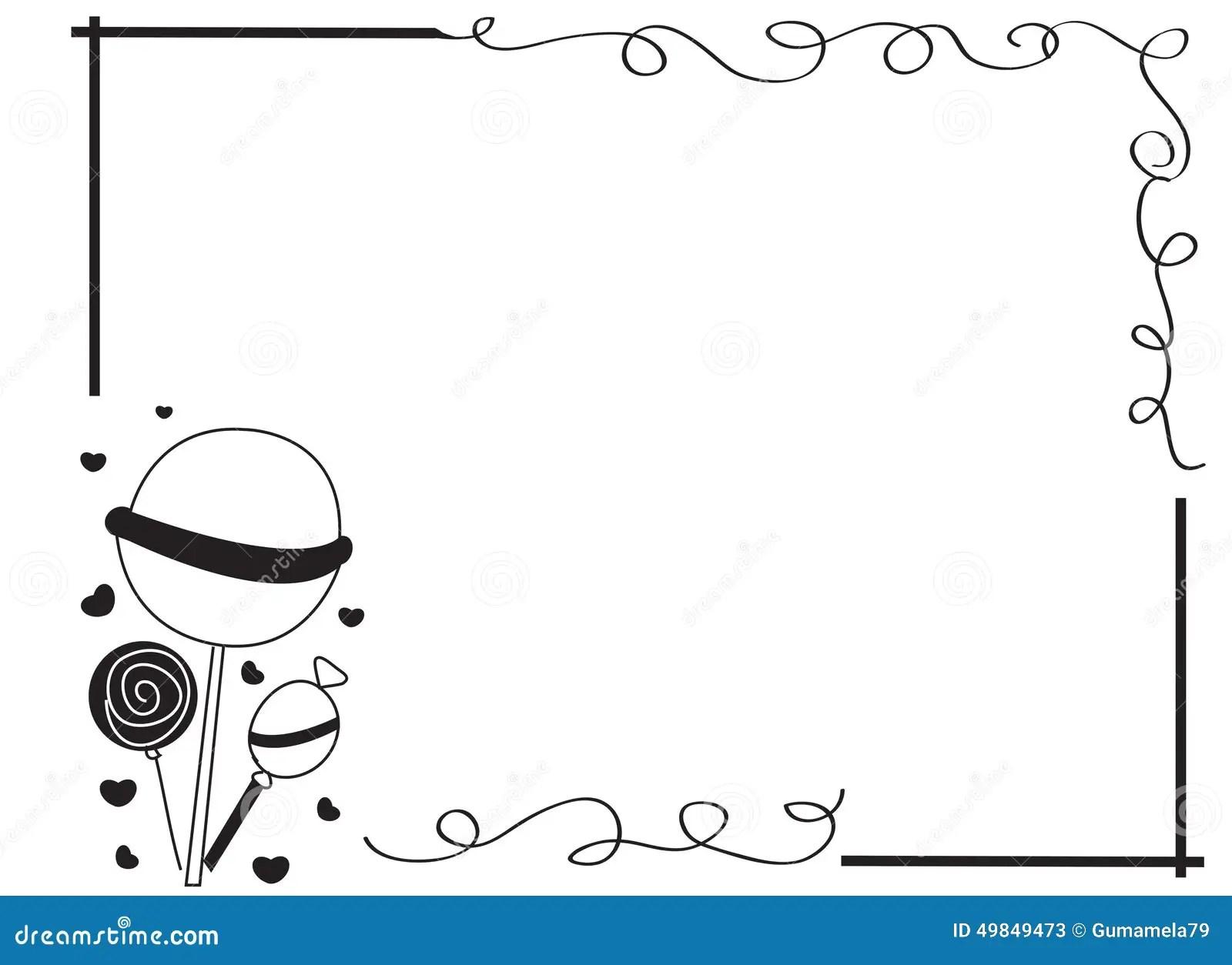 Decorative Frame Border With Lollipops Stock Illustration