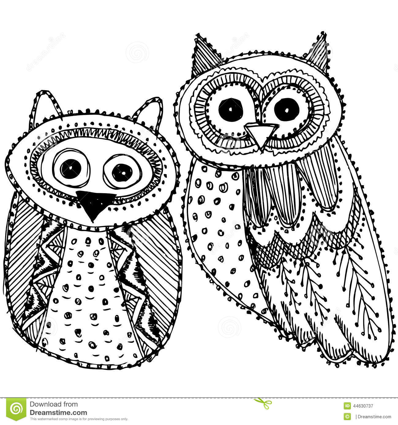 Decorative Hand Drawn Cute Owl Sketch Doodle Black And