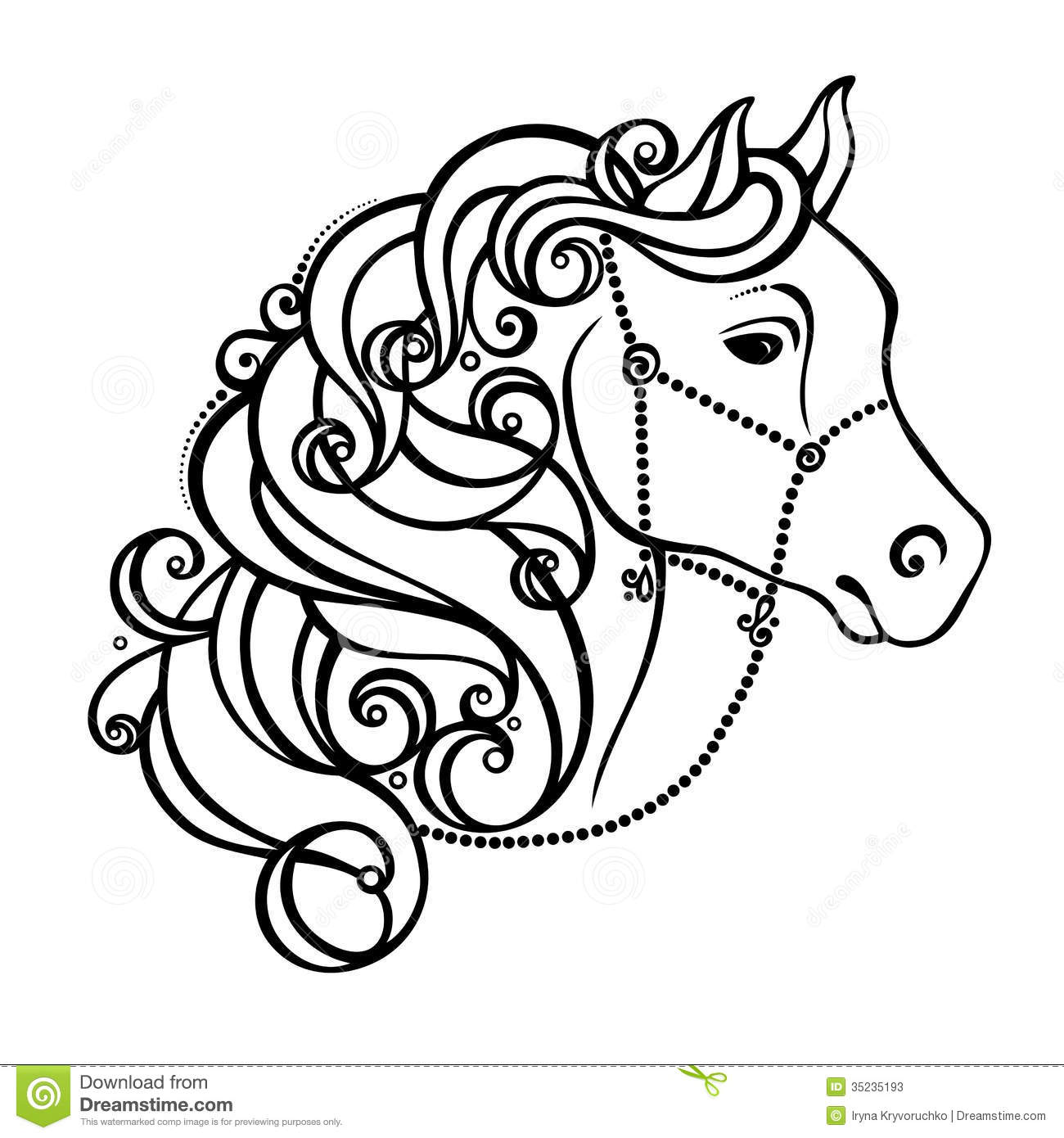 Decorative Horse With Patterned Mane Stock Vector
