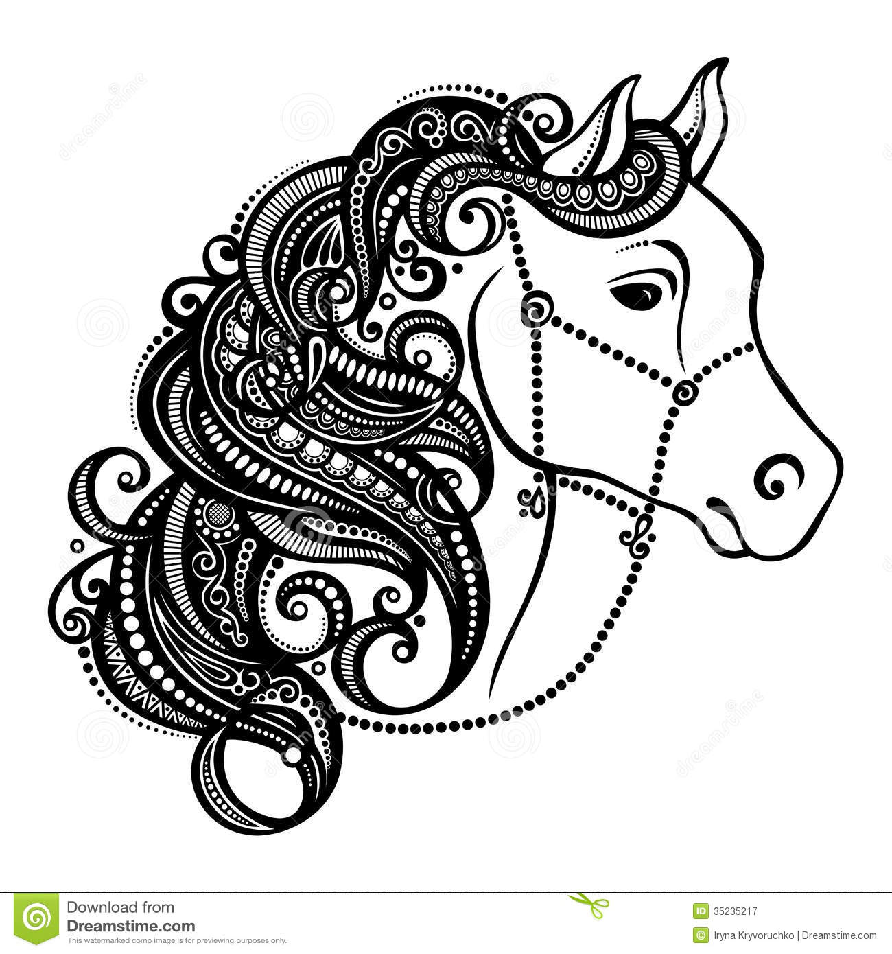 Decorative Horse With Patterned Mane Royalty Free Stock