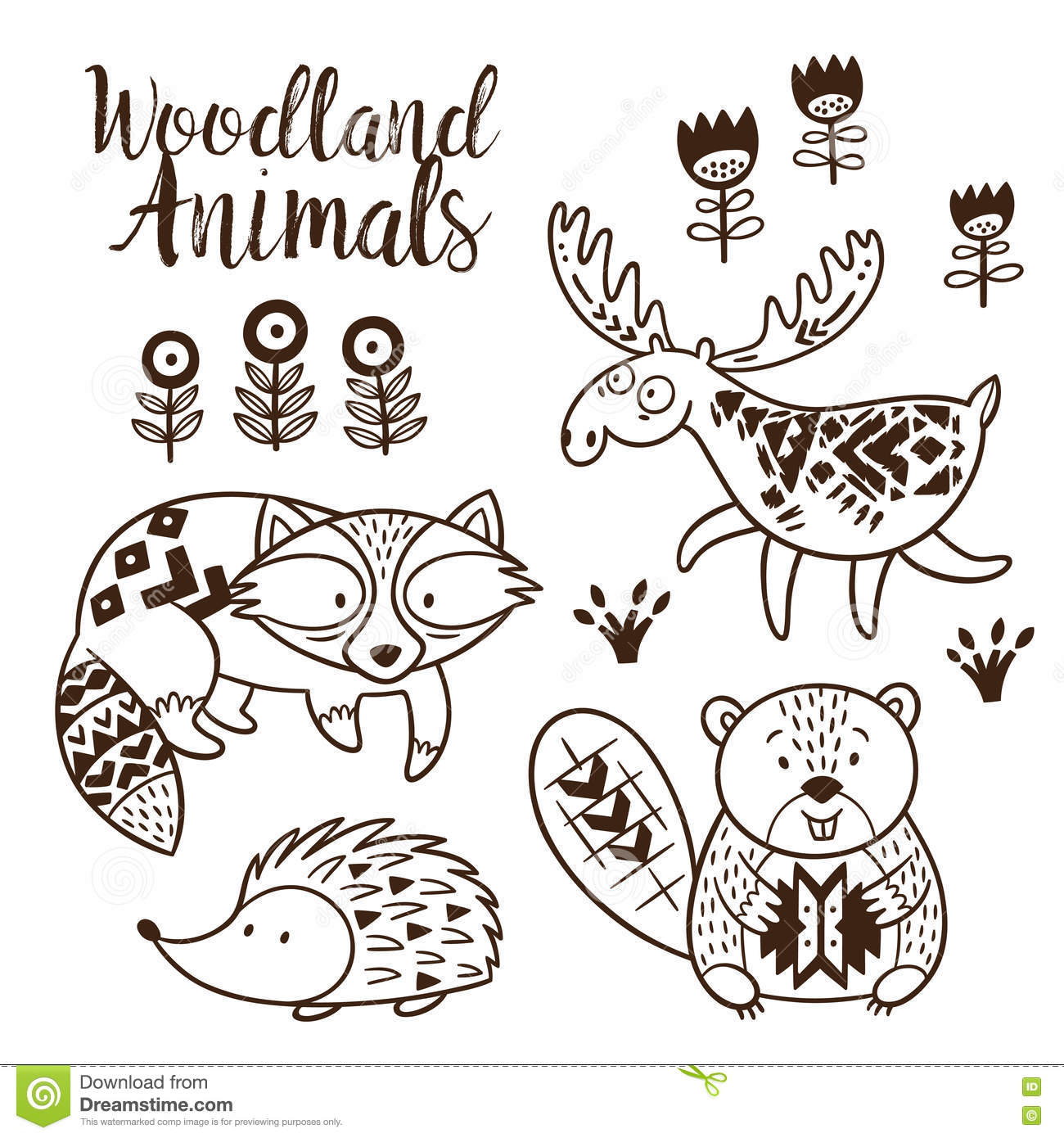 Decorative Ornamental Woodland Animals Vector Set Stock