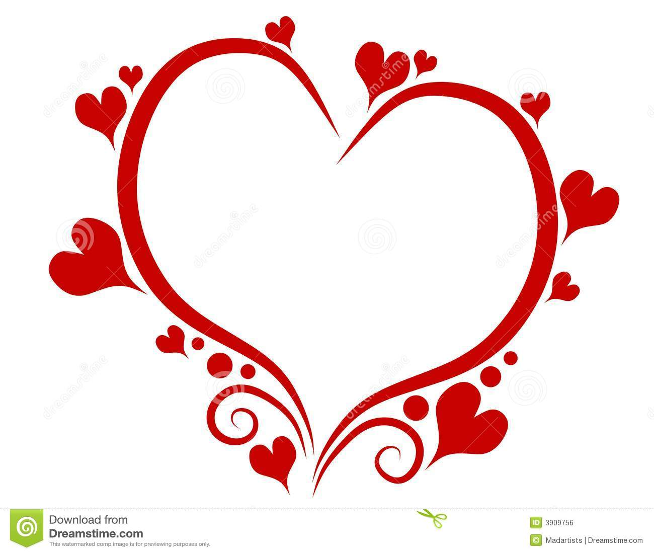 Decorative Red Valentine S Day Heart Outline Stock