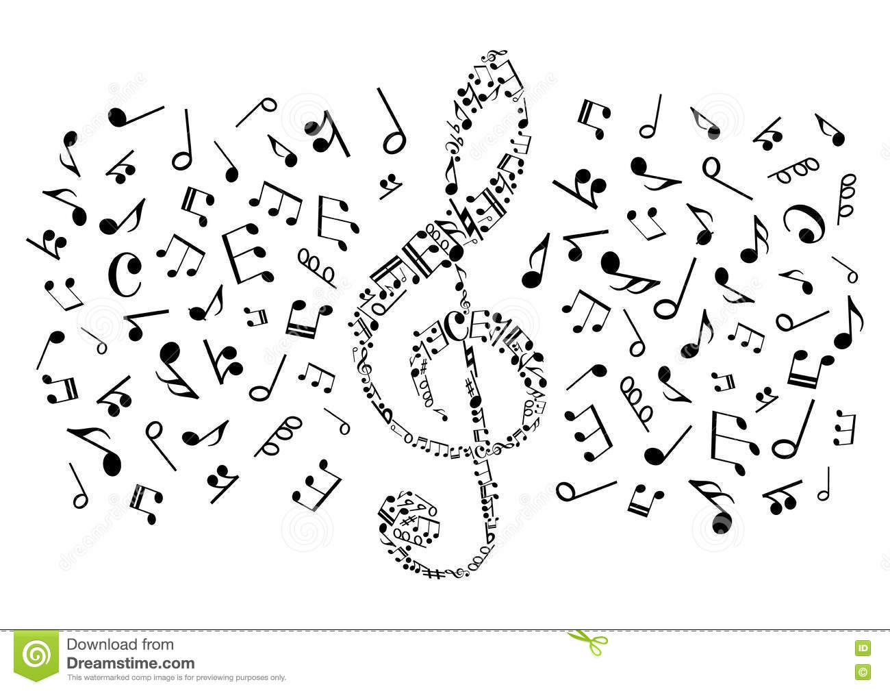 Decorative Treble Clef With Musical Notes Symbols Stock