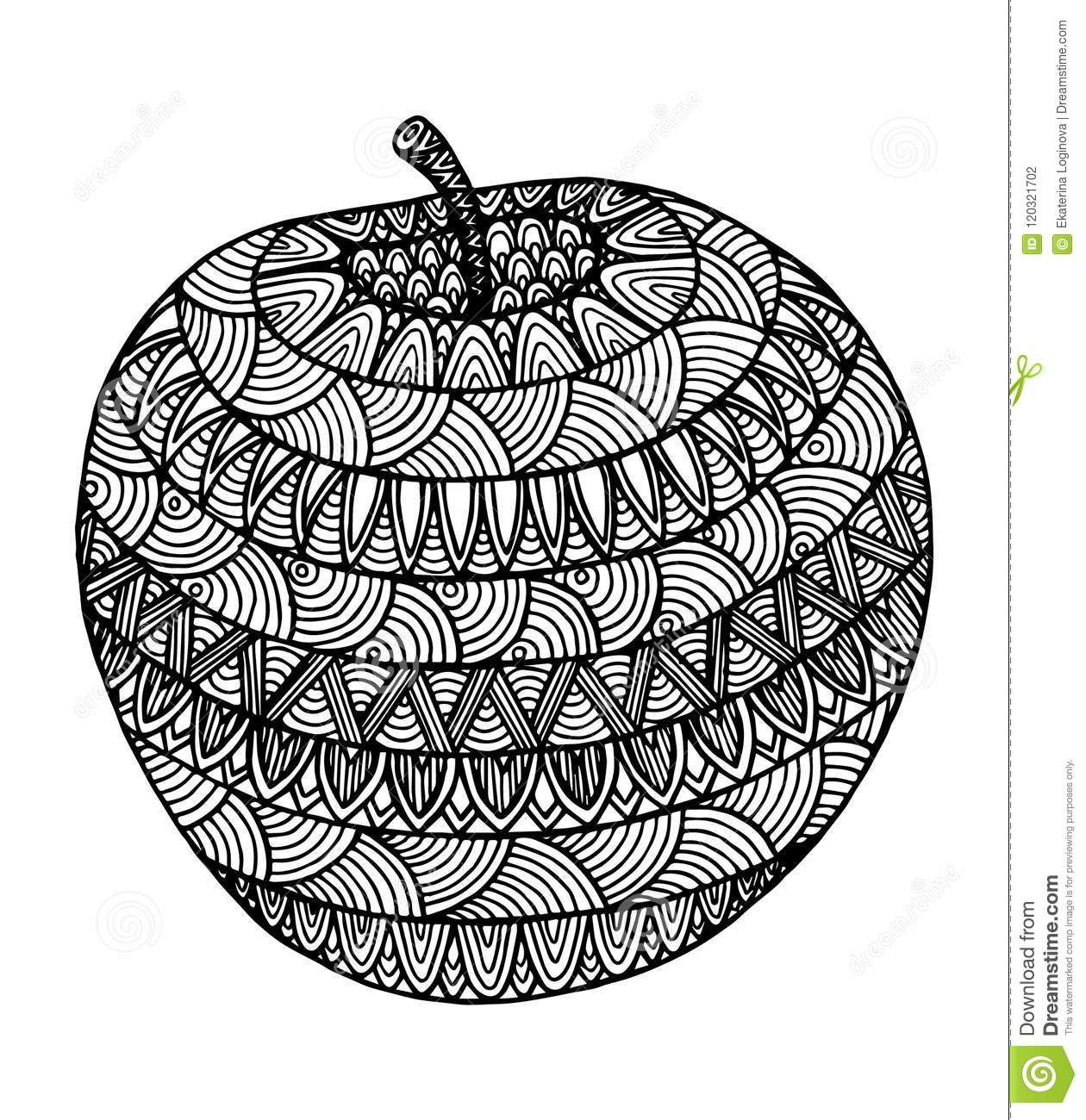 Decorative Zentangle Apple Stock Vector