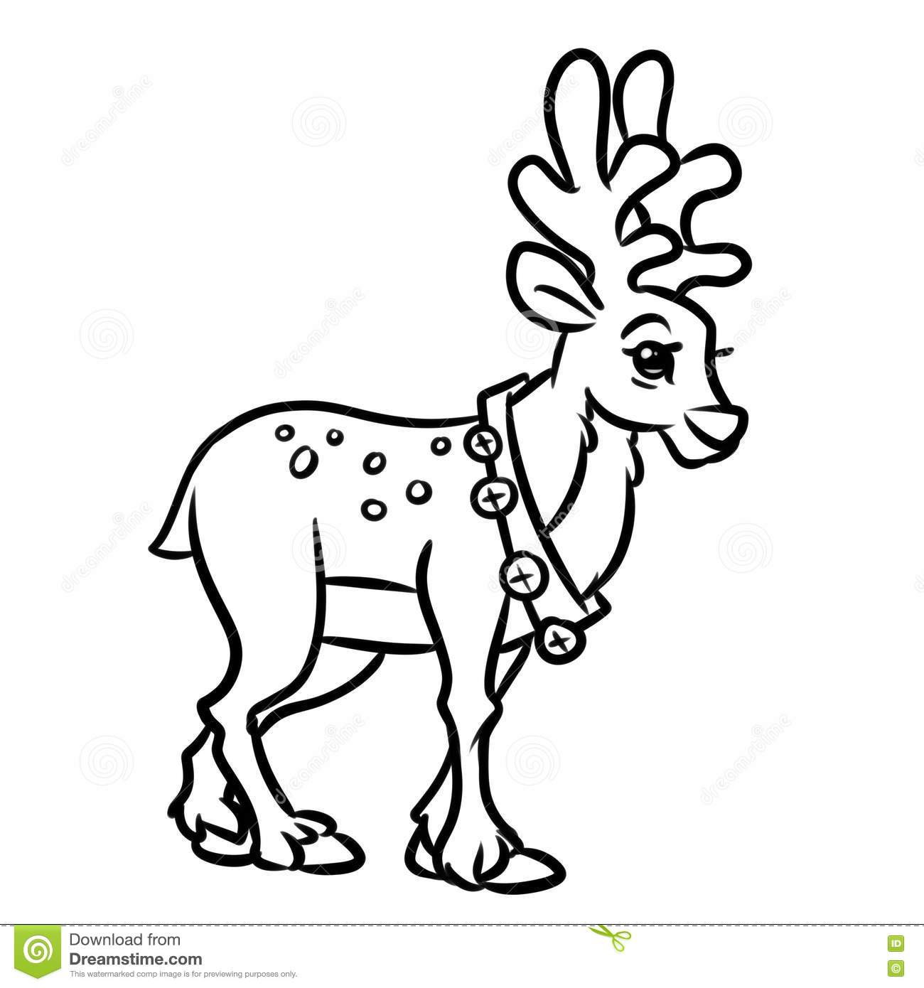 Deer Christmas Coloring Pages Cartoon Stock Illustration