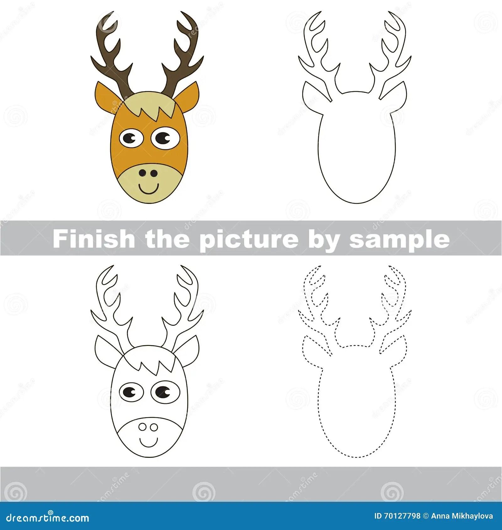 Deer Head Drawing Worksheet Stock Vector