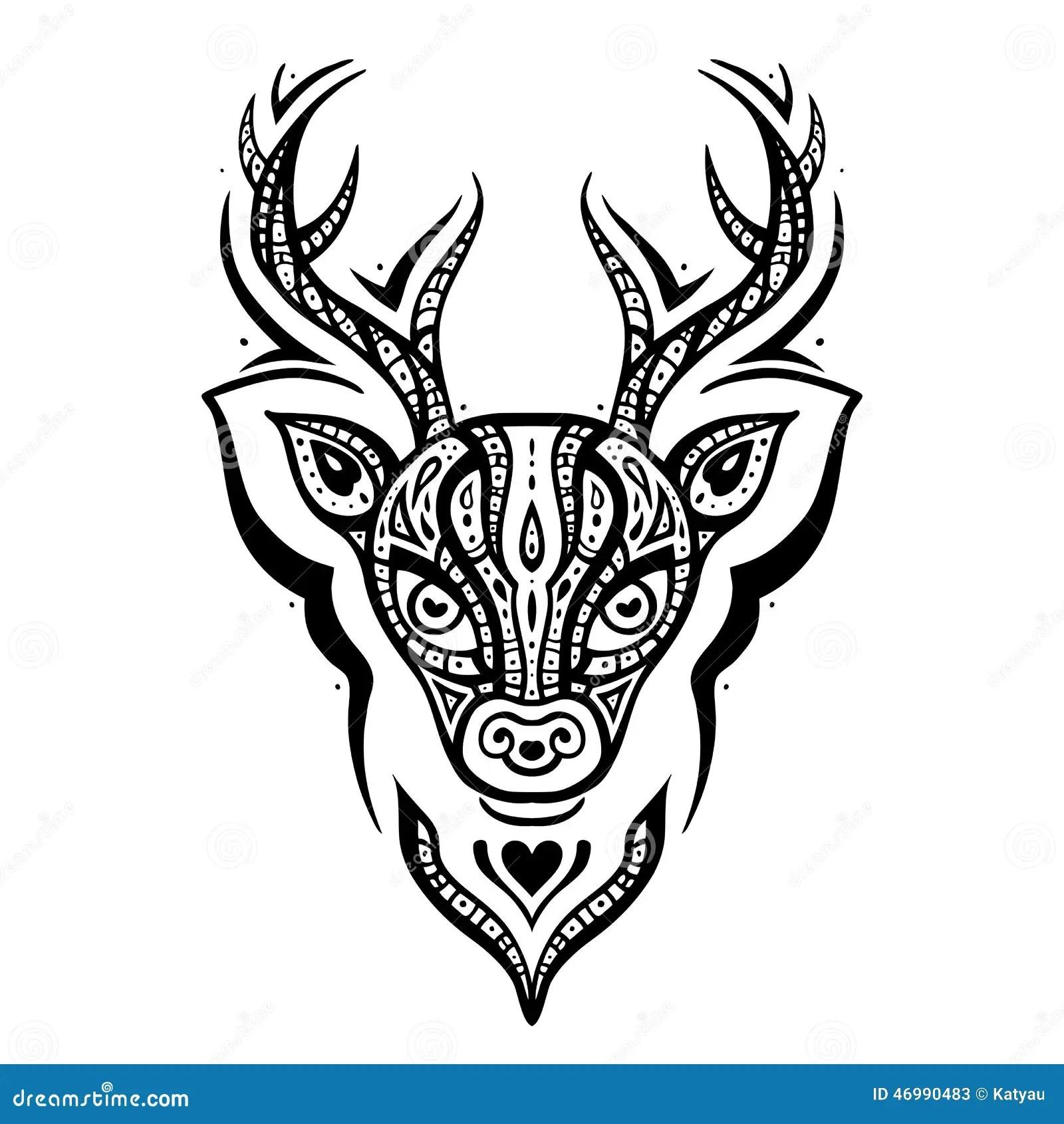 Deer Head Ethnic Pattern Stock Vector